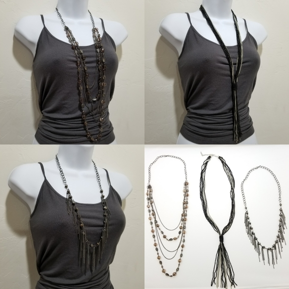 Three Extra Long Flapper Style Necklaces Gorgeous